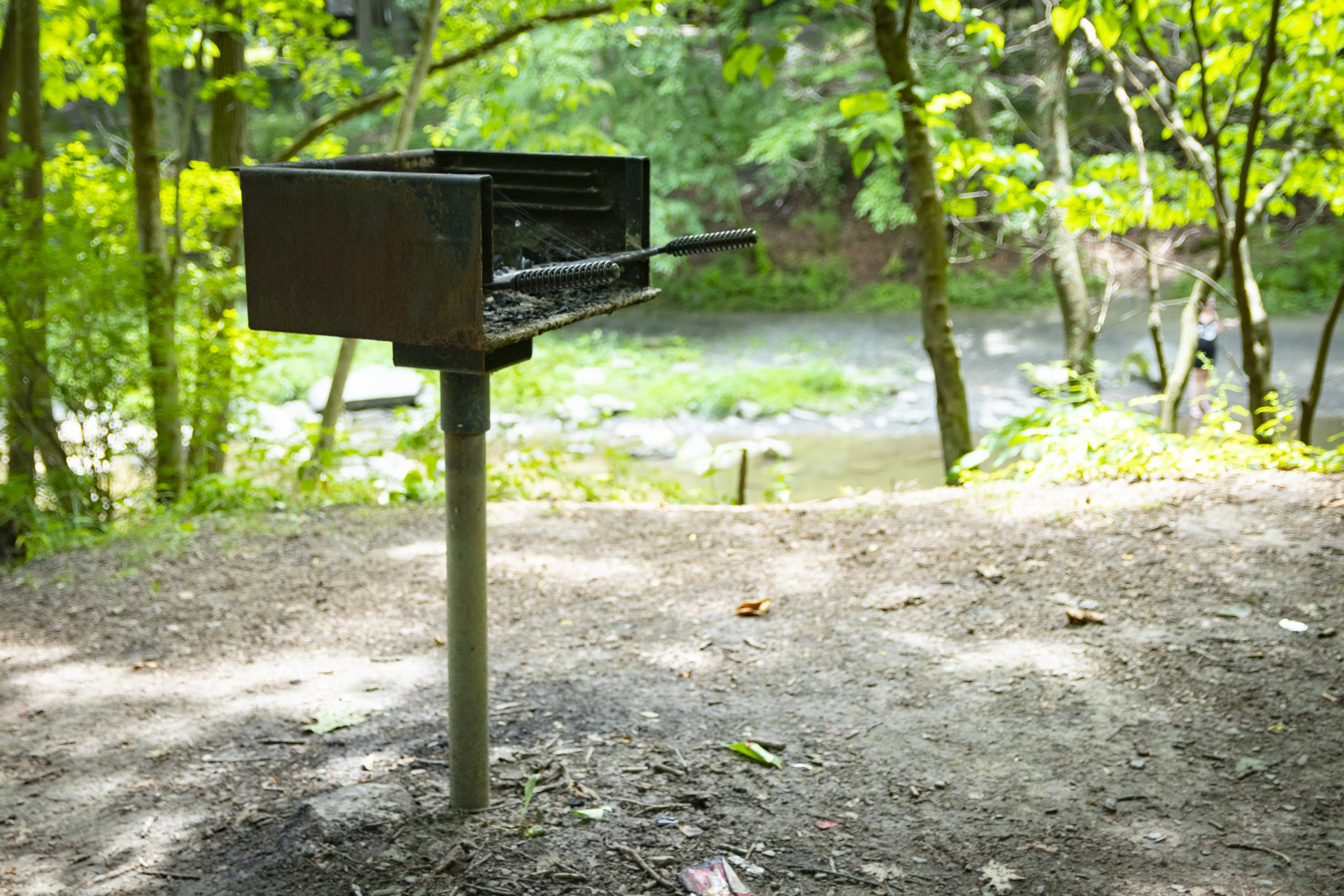standing grill at recreational public campsite or picnic site